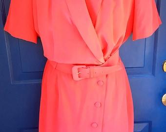 Vintage Coral Pink Belted Silk Shirtdress 1980s En Avance Short Sleeved Dress Size 8