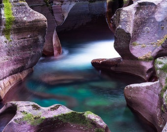 Fine Art Photo Print, Avalanche Gorge, Glacier National Park Montana, Waterfall Water Canyon Stream, Rockies Landscape Nature Photography