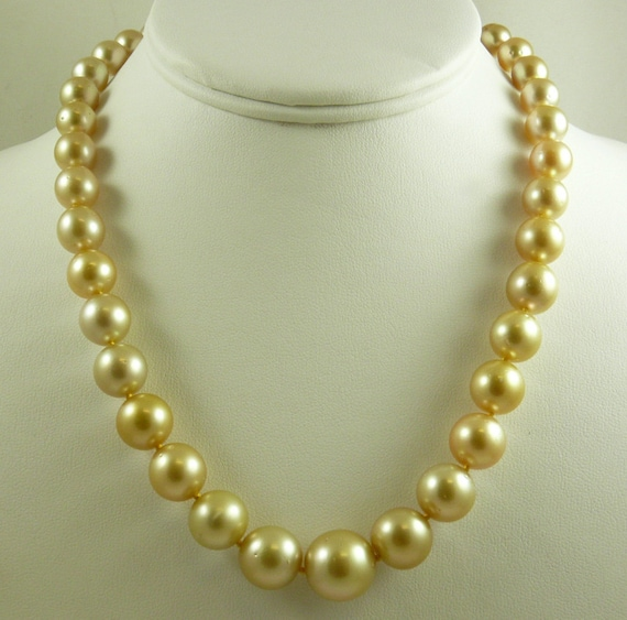 South Sea Golden 14.1mm x 14mm Round Pearl Necklace 14k Yellow Gold Clasp 18""