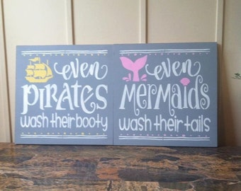 "Kids nautical bathroom wood signs 12"" x 12"" gray kids bathroom wall art mermaid pirate wood sign nautical decor even mermaids wash signs"