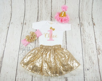 1st birthday outfit, first girl birthday outfit, pink birthday outfit, pink and gold birthday outfit, first birthday outfit, second birthday