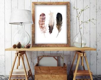 Feathers Boho Watercolor Feathers, Wall Art, Teen Wall Art, 8x10 Instant Download Art Print, Nursery Print, bhemian decor, tribal art