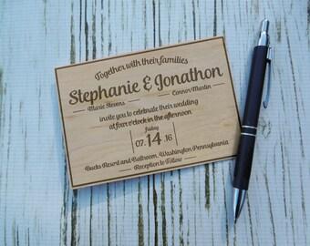 Real Wood Engraved Wedding Invitations, Laser Engraved, Rustic Wedding Invitation, Wooden Invitation, Real wood, Shabby Chic, Rustic Wedding