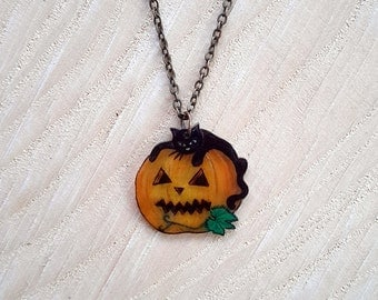 Black Cat Jewelry, Pumpkin Necklace, Black Cat Necklace, Wearable Art