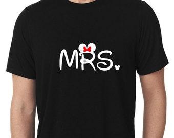 Disney Mr & Mrs Shirts, Disney Honeymoon, Disney Wedding, Custom Disney Vacation Shirts, Disney Personalized Shirts