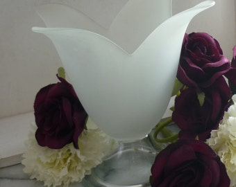 Large Vintage clear & Frosted Glass Tulip Vase/candle holder