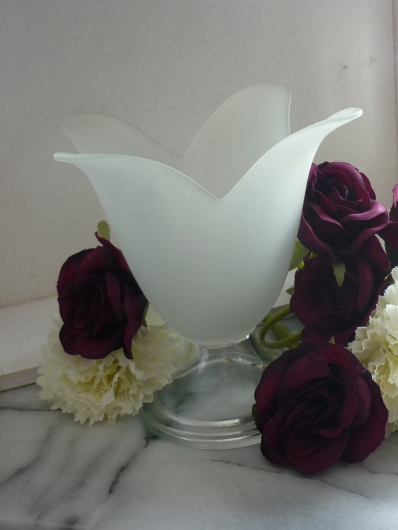 "Frosted vintage glass 6.5"" Tulip Vase or candle holder, clear footed base, wedding gift, table centre piece, table decoration"