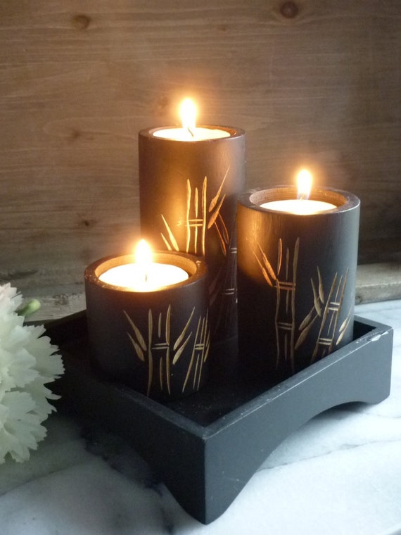 "Three black wooden 4"", 3"" & 2"", tea light holders with individual bamboo carvings on each, with 1.5"" tall wooden base, Christmas gift"