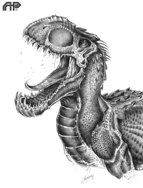 Indominus-Rex roaring portrait/drawing by APPaleoart on Etsy