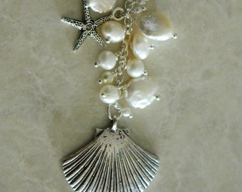 Sculpted Shell, Pearl, Swarovski & Charm Necklace