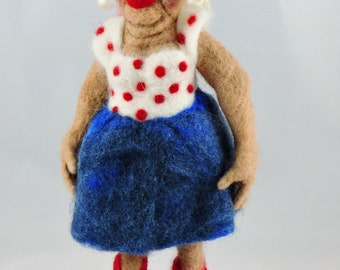 Felted Figure known as 'Aunt Chinny', Decorative Needle Felted Figure for your Home Décor, Collectable Felted Figures