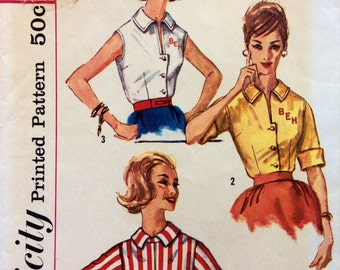 1950s monogrammed blouse Simplicity 3515 vintage sewing pattern Petite Bust 32 Waist 25 Retro 50s Mad Men preppy style, transfer included