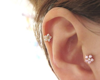 Flower Cartilage earring, Piercing, Cartilage Earring, Tragus Earring, earring, Cartilage piercing,CZ stud earring,Helix conch rook piercing
