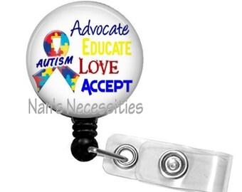 Retractable Badge Holder, Advocate Autism, Retractable Badge Reel, Badge ID Holder, Nurse Badge Reel, Nurse Badge Id Holder, Teacher Badge