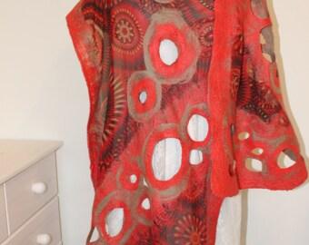 Handmade coral red - nuno felt scarf / wrap