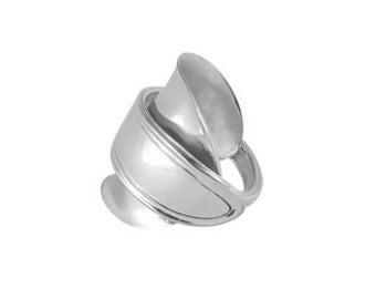 Silver Spoon Ring Handmade Whole Spoon Ring Wraparound Wrapped Spoon Ring Saddle Ring w Oneida Monroe/Mohawk Vintage Demitasse Spoon