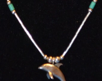 """PC-014: Solid Sterling Silver 18"""" Necklace with Liquid Silver Beaded Dolphin Pendant"""