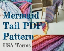 Crochet Mermaid Tail Blanket Pattern ADULT SIZE USA Terms with permission to sell finished items