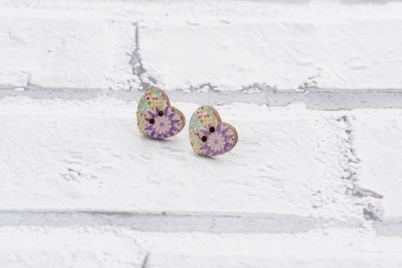 Flower earrings - button earrings - funky earrings - flower studs  - heart earrings