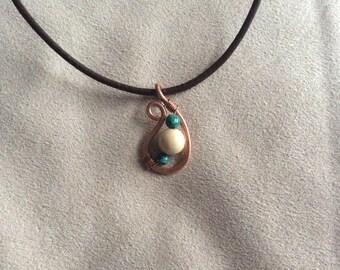 Handmade Recycled Copper Teardrop Pendant