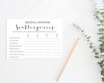 Bridal Shower Scattergories, Wedding Scattergories, Printable Bridal Shower Game, Printable Wedding Game, Printable Love Scattergories