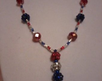 Red, white & blue beaded lariat necklace