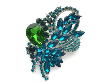 Teal Blue Green Silver Rhinestone Brooch Crystal Brooch Wedding Accessories Bridal Brooch bouquet Hair comb