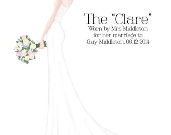 Custom Bride Illustration | Bespoke Wedding Dress Illustration | Wedding Portrait | Wedding Illustration | Custom Bride Portrait