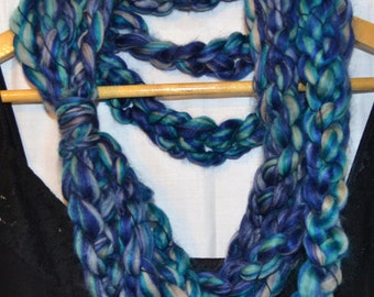 The Jean Scarf: infinity.circle.necklace.cowl.long.extra long.warm.soft.chunky.yarn.handmade.wool.blue.crochet.wool.