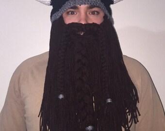 Mens Crochet Viking Hat