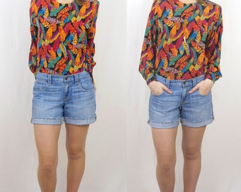 Vintage Bright Colored Feather Pattern Blouse