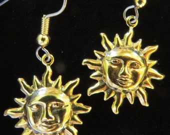 Celestial Sun Earrings 3/4 inch Smiling Faces Copper, 24 Karat Gold Plate or Silver Plate EC040 / EG077 / ES193