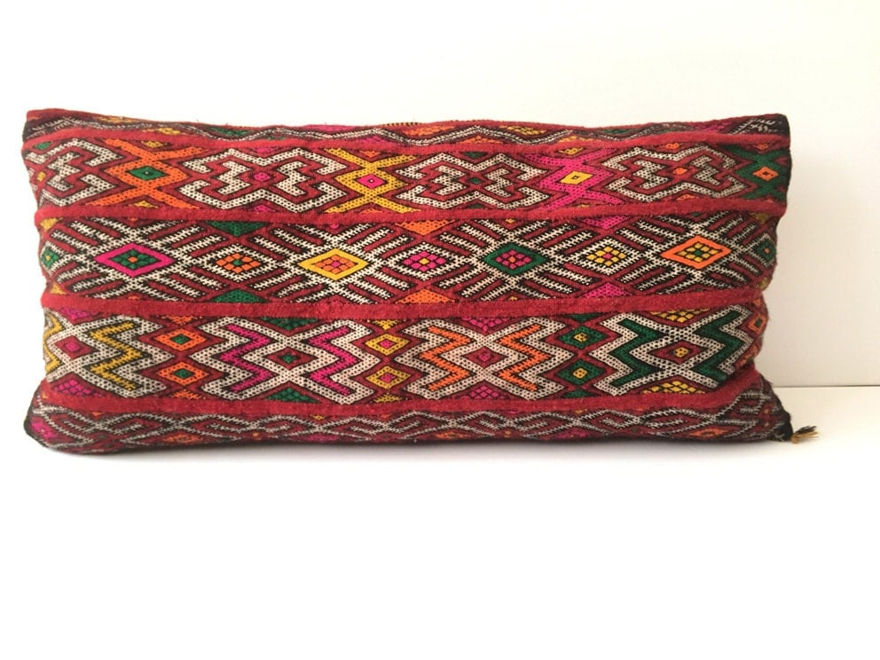 Xl Decorative Pillows : XL Vintage Moroccan pillow Berber pillow Red Lumbar Pillow