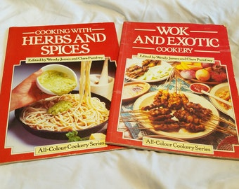 Lot of 2 1980s cookbooks ** Cooking with Herbs & Spices ** Wok and Exotic Cookery