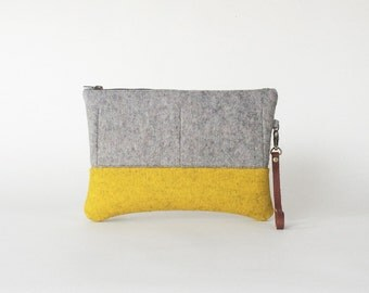 Wool Felt Clutch in Ash Gray and Yellow Ochre | Zipper Clutch | Felt Bag