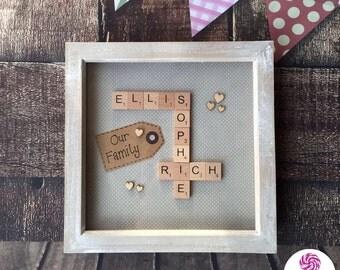 Family Scrabble Tile Box Frame