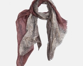 Snake Print Scarf with a twist, Viscose scarf, soft scarf, three color shaded scarf, animal printed scarf