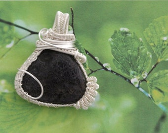 Fossil coral silver platted pendant