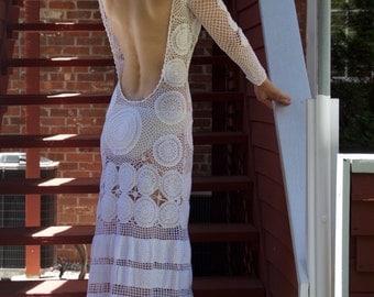 White Crochet Beach Dress, Made to Order
