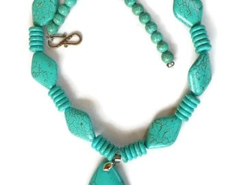 Faux Turquoise Necklace Vintage Necklace Chunky Boho Beaded Necklace