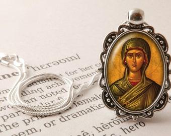 Mary Magdalene Pendant Necklace - St Mary Magdalene Jewelry, Icon Pendant, Saint Necklace, Vintage Mary Magdalene Religious Jewellery