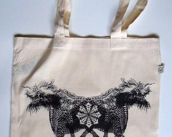 Asian Dragons - Organic Shopping Bag, Tote Bag, Fair trade Heavy Duty Cotton