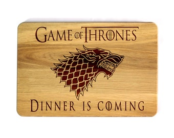 Game of Thrones Cutting Board House Stark Games of Thrones Engraved Personalized Birthday Gift  for him Gift for Dad Father's Day Gift
