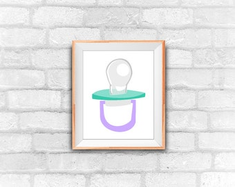 pacifier printable art print, instant download, wall decor