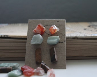 Unique raw and tumbled stone earrings, chic turquoise - scarlet - burnt umber, stud rock earrings, three pack, nickel free