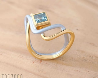 Two Roads Ring | 925 sterling silver | Natural Topaz | Gold plated | Rhodum plated | Free gift box | Free shipping Australia and NZ