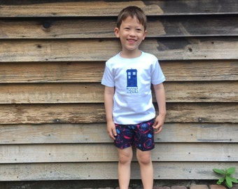 Size 3T Shorts Set -- Doctor Who Theme with Tardis short