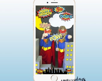 SNAPCHAT Custom Geo Filter / Superhero Kid's Party, Birthday, Disney Snapchat Comic Book, Marvel filter, Spiderman, Iron Man Costume Digital