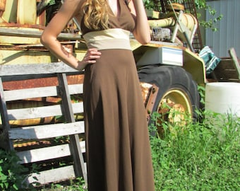 70s Disco Halter Maxi Dress Brown, Beige and Taupe Knit with Matching Jacket Modern Size XS or 2 | Vintage Prom Bridesmaid