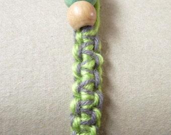 13# Green and Grey Woollen Bracelet